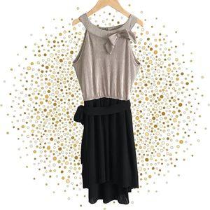 ORIGAMI Girls Metallic Gold Black Dress Ribbed Pleated Hi Lo Sleeveless